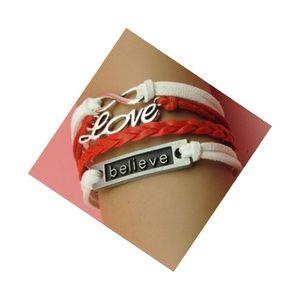 Believe in Love Infinity Leather Charm Bracelet